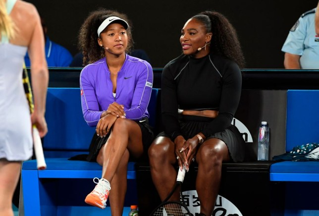 Naomi Osaka of Japan (L) and Serena Williams of the US (R) share a lighter moment as they and other top players play in the Rally for Relief charity tennis match in support of the victims of the Australian bushfires, in Melbourne of January 15, 2020, ahead of the Australian Open tennis tournament.