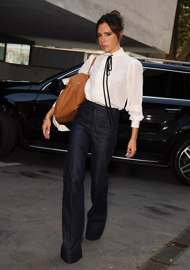 Always stylish: Victoria Beckham was sure to dress up in head-turning style ahead of the digital unveiling of her latest collection for London Fashion Week on Monday