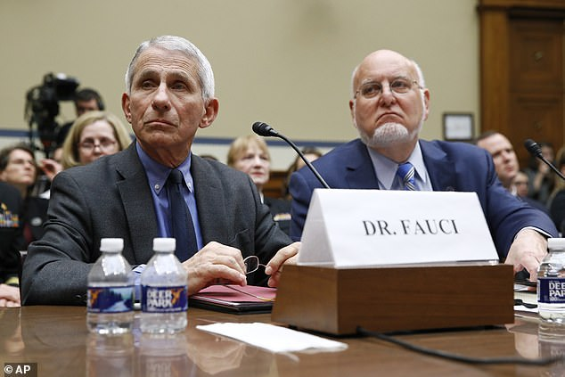 Fauci said, if a vaccine is approved in 2020, only about 50 million doses would be available in December for frontline workers. Pictured: Fauci (left) and Redfield before a House Oversight Committee hearing on preparedness for and response to the coronavirus outbreak, March 11