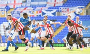 Birmingham's Jeremie Bela heads home the only goal of the game.