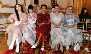 Faye Wei Wei, Susie Lau, Phoebe Collings-James, Alexa Chung and Greta Bellamacina attend the Simone Rocha front row during London Fashion Week, February 2020