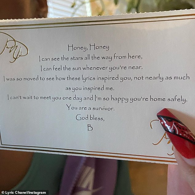 Queens: The note included a line from Love On Top, one of Lyric's favorite songs by Beyonce