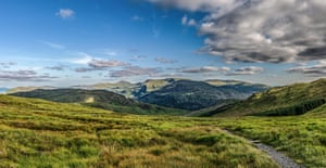 A Panoramic view from the hike up The Merrick looking across the valleys and hills back towards Glentrool.