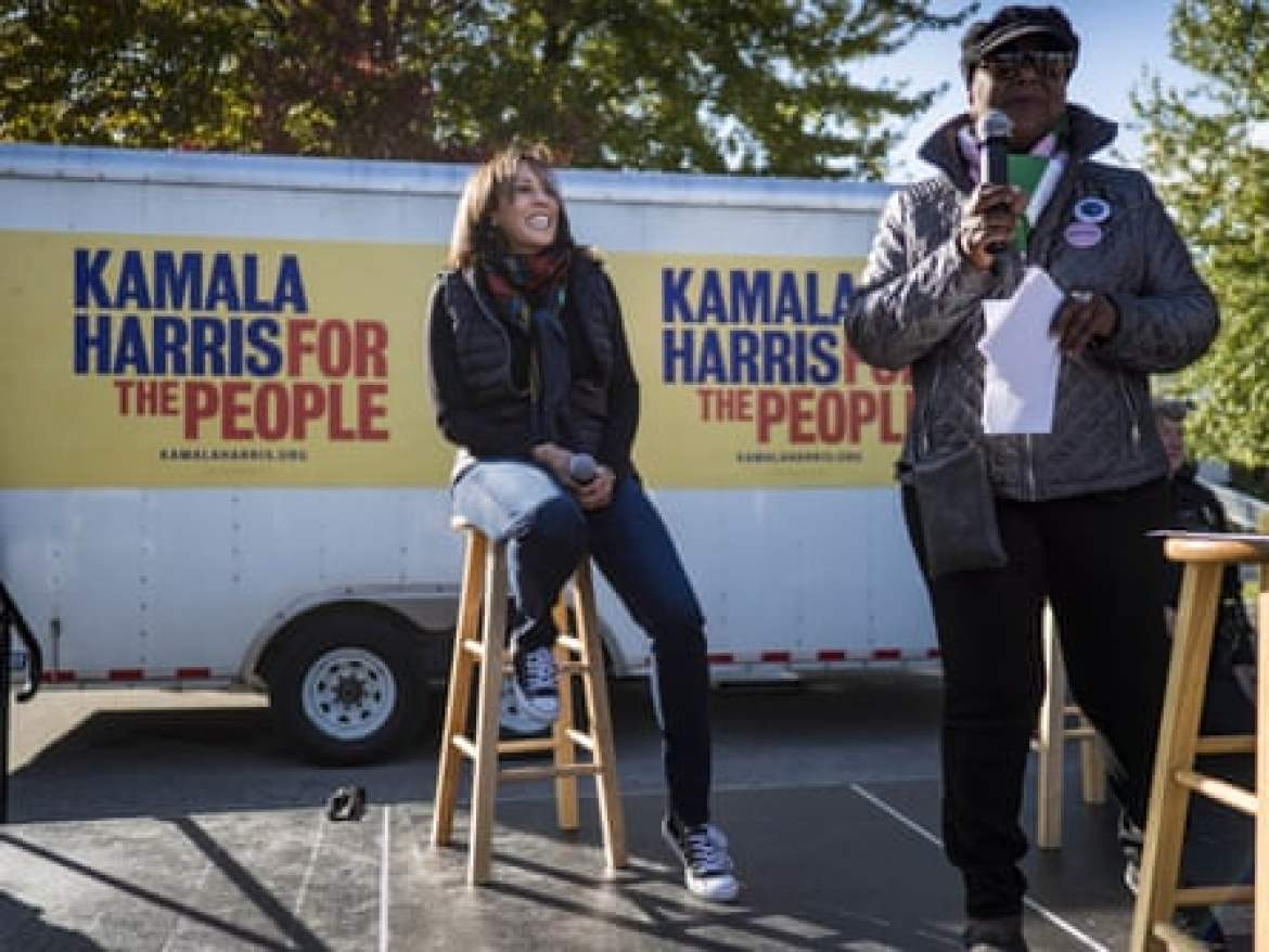 Kamala Harris campaigning in Des Moines in October last year.