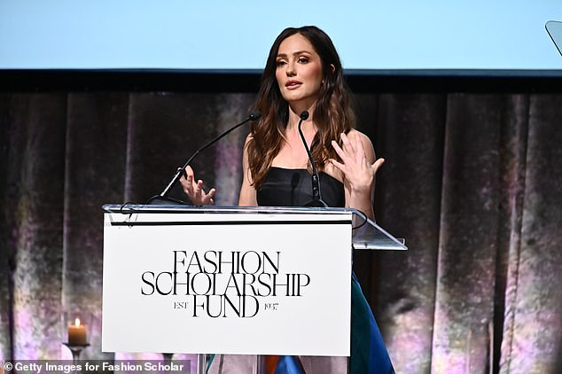 Stunning: Kelly spoke at a Fashion Gala event earlier this year in NYC