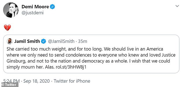 Broken-hearted: Demi Moore quote-tweeted journalist Jamil Smith who wrote: 'She carried too much weight, and for too long'