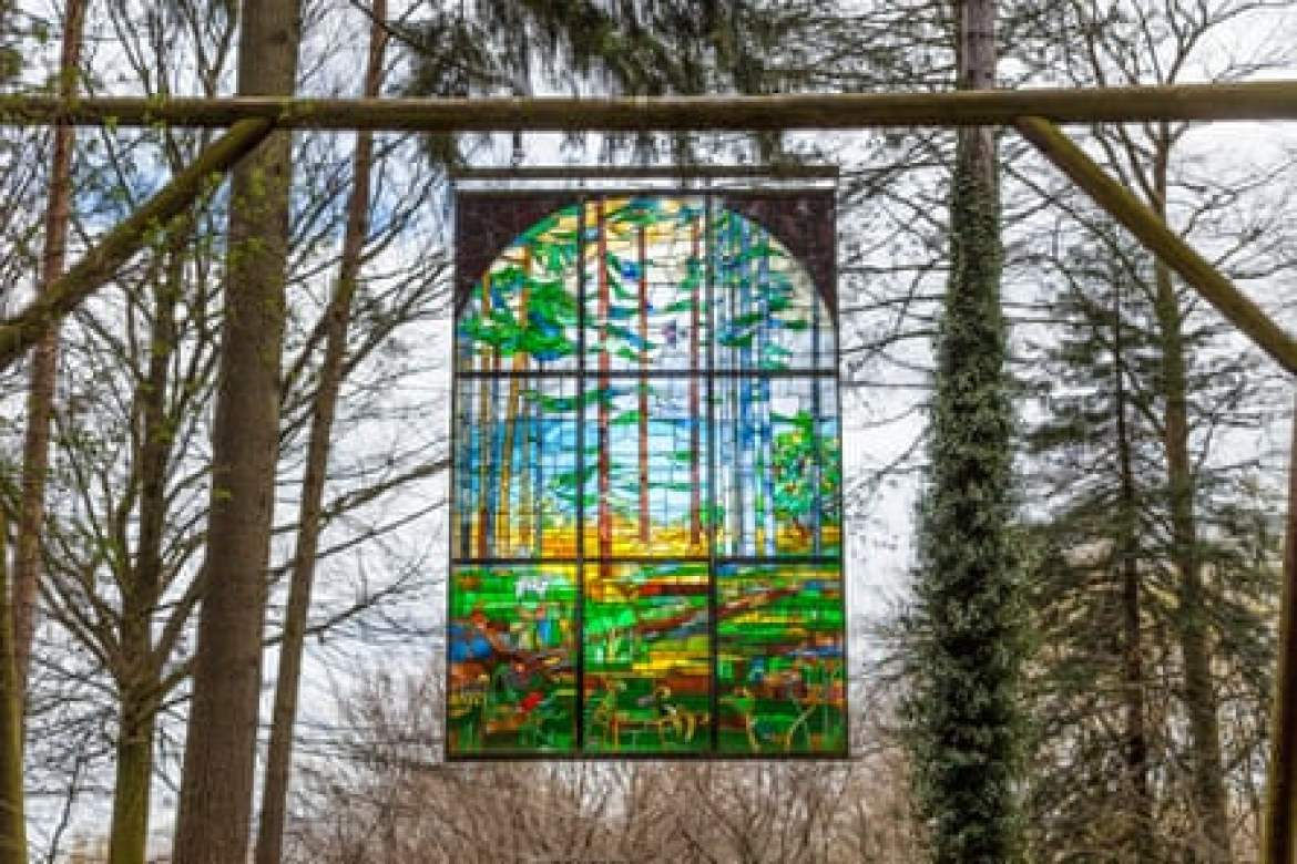 Forest of Dean sculpture trail. Suspended stained glass panel, Forest of Dean