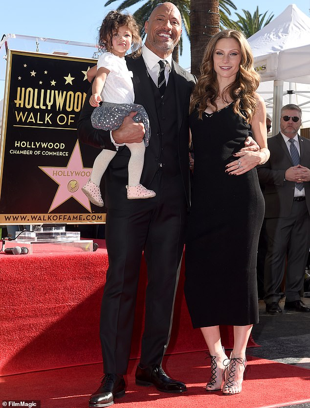 Recovery: The actor is pictured with his wife Lauren Hashian and their daughter Jasmine at hisHollywood Walk of Fame event in 2017