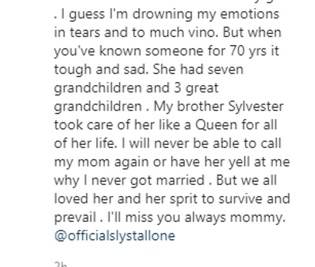Tribute:In a post shared to Instagram, Frank stated that Jackie 'died in her sleep as she had wished' on Monday morning