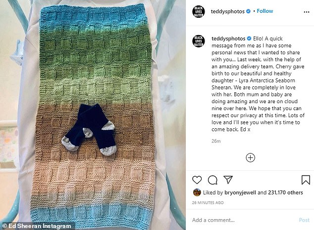 Happy news: Ed and Cherry announced the birth of their daughter with  a sweet Instagram post on Tuesday morning as he said 'we're on cloud nine'