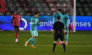 Jones of Liverpool celebrates scoring his side's fourth.