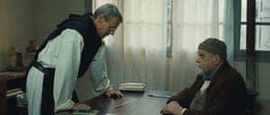 César winner … Lonsdale, right, with Lambert Wilson in Of Gods and Men.