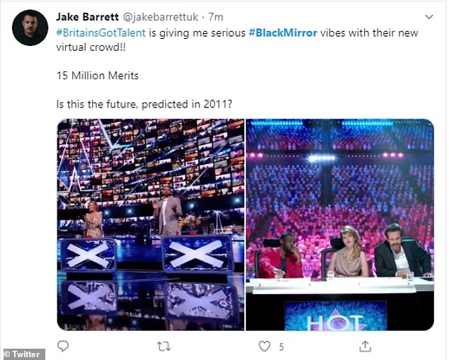 Funny: Fans made the hilarious comparison to one of Black Mirror's first episodes, titled Fifteen Million Merits, which satirised the talent show format