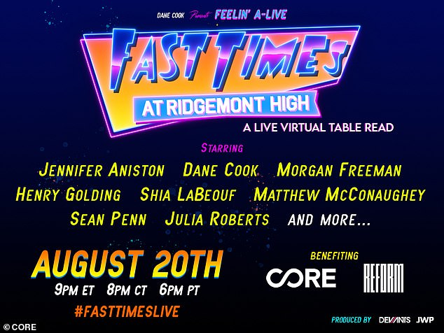 Details: The live virtual table read Dane Cook Presents Feelin' A-Live Fast Times at Ridgemont High will debut on Friday, August 21, at 8 p.m. ET/5 p.m. PT on Facebook Live and TikTok via CORE's official Facebook page and TikTok account. It will also stream via LiveXLive