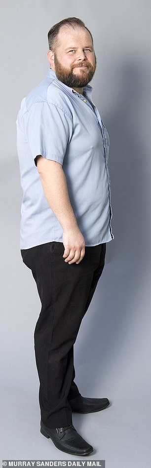 Dominic is pictured above before his weight loss