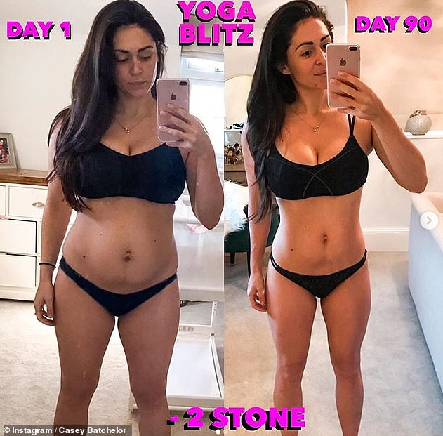 Minus two stone: The brunette is a qualified yoga instructor and she recently unveiled her impressive weight loss in jaw-dropping before-and-after photos