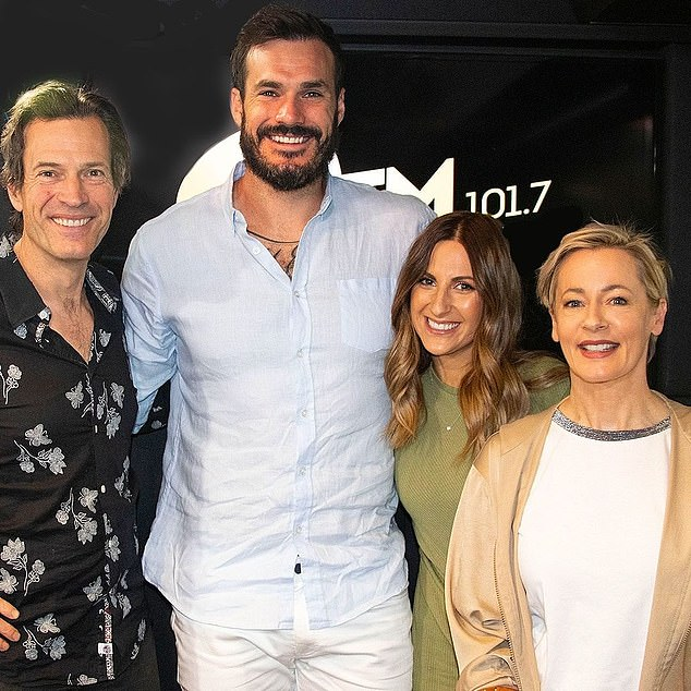 "'Classic example of ""fake it 'til you make it""': Armchair experts have scrutinised every glance, touch and gesture over the past few hours. Locky and Irena are pictured with WSFM hosts Brendan 'Jonesy' Jones (left) and Amanda Keller (right) on Friday"