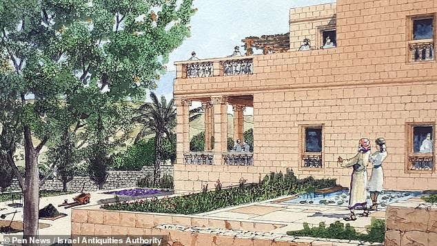 """'This discovery attests to a new revival in the city and somewhat of an """"exit from the walls"""" of the First Temple period after the Assyrian siege,' said Professor Billig. 'We have revealed villas, mansions and government buildings in the area outside the walls of the city,' he continued. 'This testifies to the relief felt by the city's residents and the recovery of Jerusalem's development after the Assyrian threat was over.' Pictured, an illustration of the palace"""