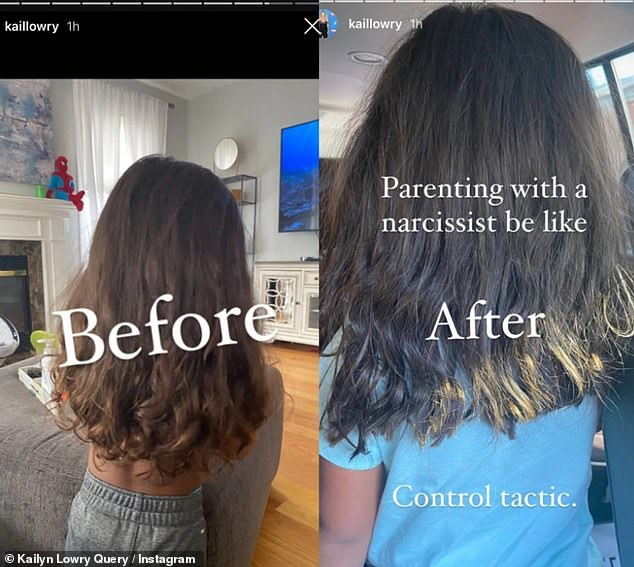 Poor job: She posted before and after photos of Lux's hair in her Insta Stories to show how it was unevenly cut, and she called the haircut a 'Control tactic'