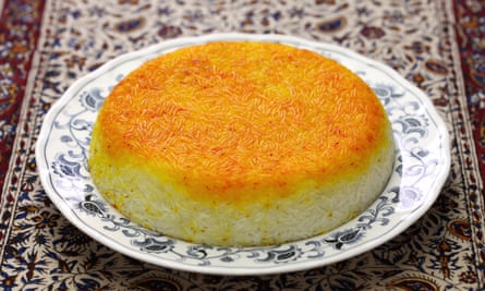 The crunchy layer at the top is the prize when cooking Persian tahdig