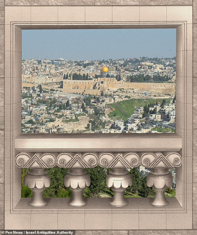 The palace would have overlooked King Solomon's Temple in the heart of Jerusalem, but is believed to have been destroyed in 586 BC. Pictured, an artist's impression of the view the palace would have if it still existed in the modern-day