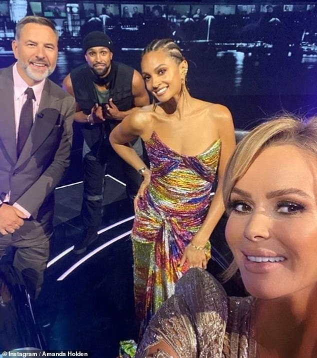 Reunited: Judge Amanda Holden shared a socially-distanced selfie with the rest of the judging panel as the pre-filmed semi-final was aired
