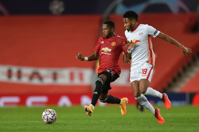 Fred runs with the ball during Manchester United's Champions League clash with Leipzig