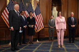 Speaker Pelosi in pink for a ceremonial swearing-in, 2019