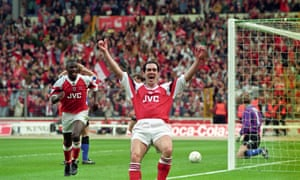A jubilant Steve Morrow after scoring Arsenal's winning goal in the Coca-Cola Cup Final against Sheffield Wednesday.