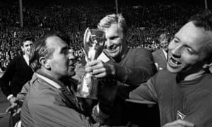 Nobby Stiles, with Alf Ramsey and Bobby Moore.