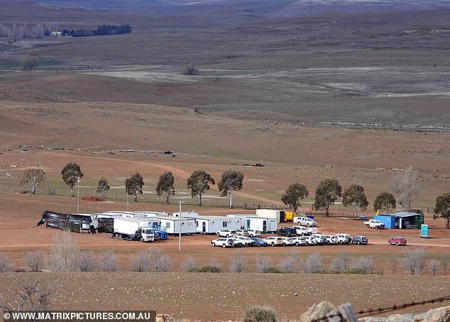 Filming in progress: Stark rural landscape surrounded the camp, with only a few production trucks and other vehicles nearby