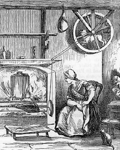 An illustration showing a turnspit dog at work inside a wheel near the ceiling