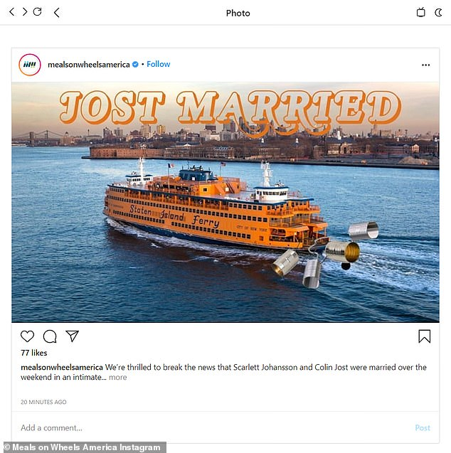 Hilarious: The photo was of the Staten Island Ferry outside New York with cans tied to the end and the wording Jost Married; Colin grew up on Staten Island