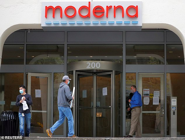 If the results are positive, along with the two months of safety data, the firm will be ready to apply for emergency use approval with the FDA in December. Pictured: A sign marks the headquarters of Moderna in Cambridge, Massachusetts, May 2020