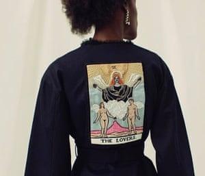 A tarot-themed denim jacket from Clio Peppiatt