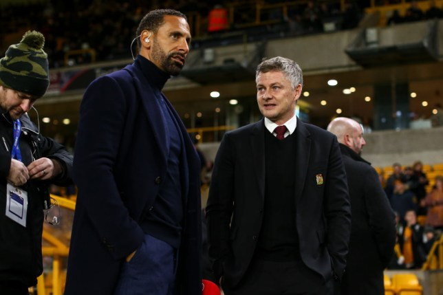 Rio Ferdinand and Ole Gunnar Solskjaer the head coach / manager of Manchester United during the FA Cup Third Round match between Wolverhampton Wanderers and Manchester United at Molineux on January 4, 2020 in Wolverhampton, England.