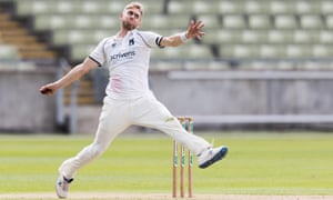 Olly Stone of Warwickshire in his delivery stride during the Bob Willis Trophy match against Northamptonshire at Edgbaston in August 2020