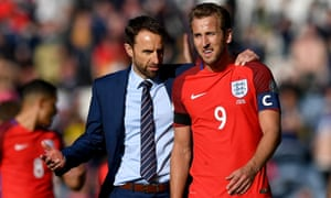 Gareth Southgate with Harry Kane after the striker's late goal gave England a 2-2 draw against Scotland at Hampden Park in a June 2017 World Cup qualifier
