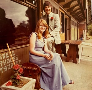 Patricia and Christopher Walker on their wedding day, 31 July 1976 at the Cherwell Boathouse, Oxford.
