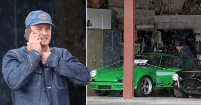 Orlando Bloom shops for a $115,000 vintage green Porsche at local garage