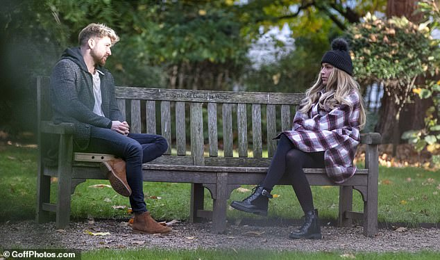 Friendly?Despite rumours of a rekindled romance, the atmosphere was tense as the pair met in a west London park for a chat following Zara's attempts to win her ex back