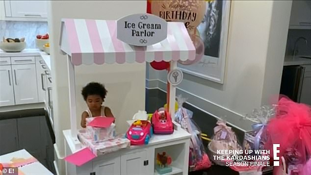 Birthday girl:The two of them worked out together and celebrated True's second birthday at home