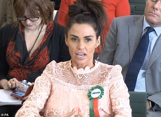 On a mission: The TV star wants a new UK law - which she has dubbed Harvey's Law - to be created to make online trolling a specific criminal offence (pictured, February 2018)
