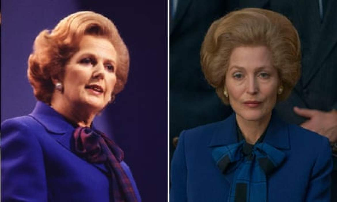 Composite image showing Margaret Thatcher (left) and The Crown S4 - Margaret Thatcher (GILLIAN ANDERSON)
