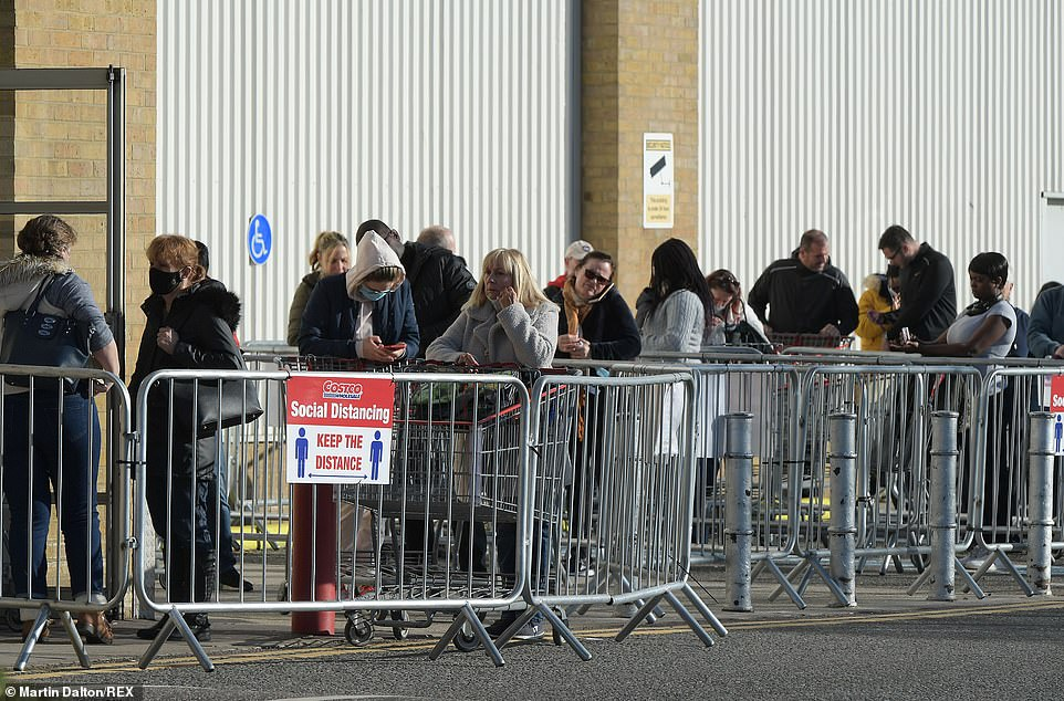 People queued outside the Essex Costco to get supplies ahead of the impending second lockdown