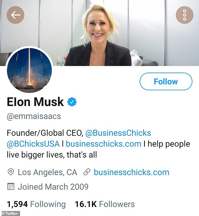 Following a further investigation into the Internet Archive, Mashable found that the verified account was previously owned by Emma Isaacs (pictured) who is the CEO BusinessChicks ¿ and her image is still shown as the banner on the fraudulent account