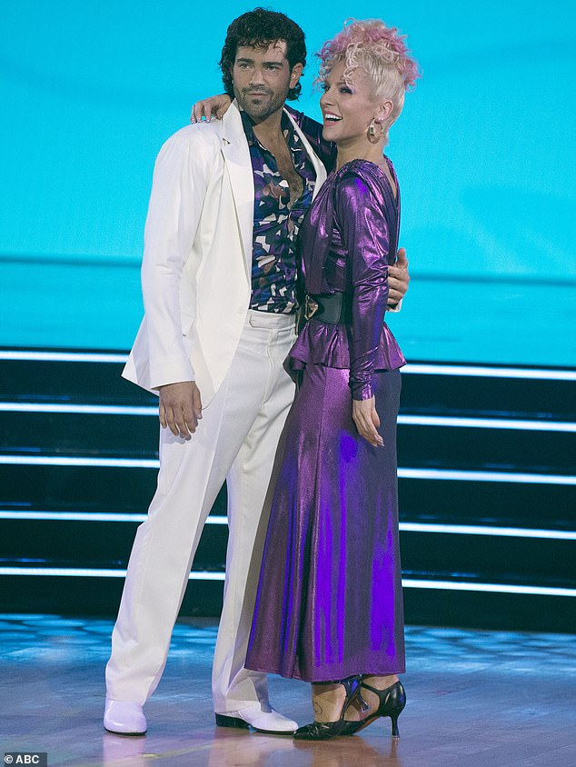 'I was never gonna win': On October 4, the Cali-born, Connecticut-raised actor was the fourth contestant eliminated off the 29th season of Dancing with the Stars, which currently airs Mondays on ABC (pictured with partner Sharna Burgess)