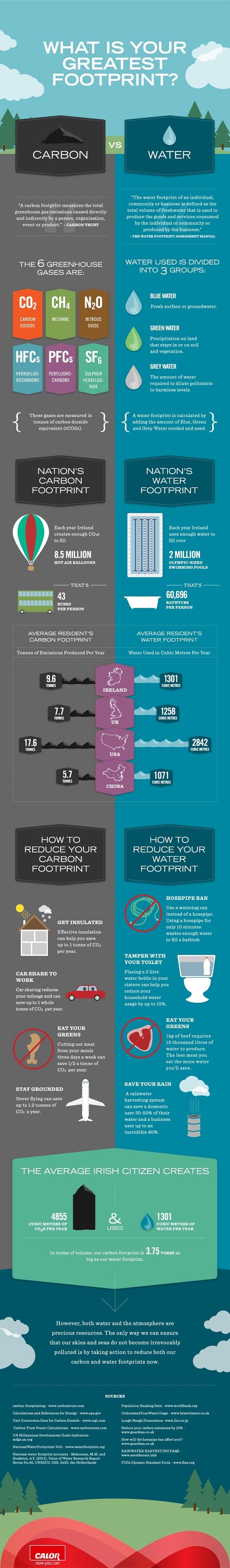 What Is Your Greatest Footprint? (Carbon vs. Water) Infographic