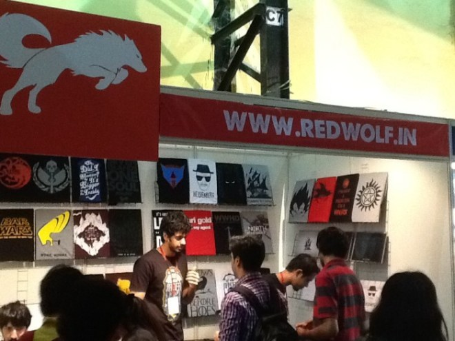 The Red Wolf t shirt company stall at the Mumbai Film and Comic Convention