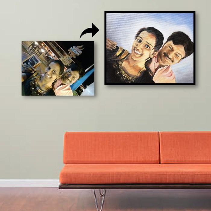 indian couple oil portrait paintings